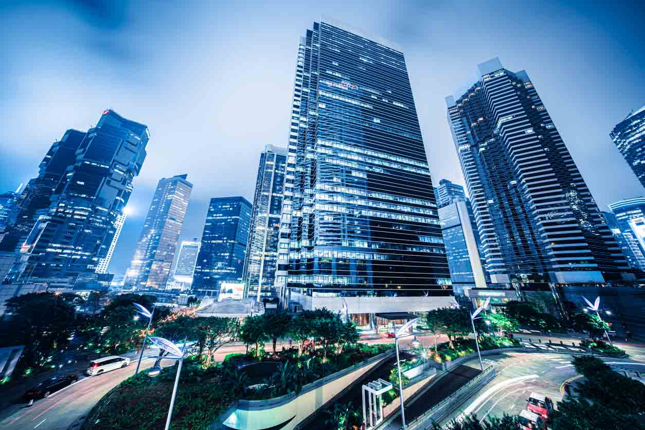 Modern financial skyscrapers in central Hong Kong